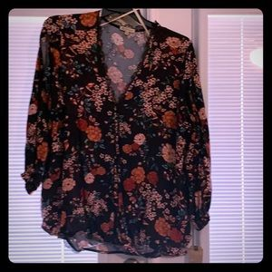 Gorgeous bright floral button down w/ lace detail.